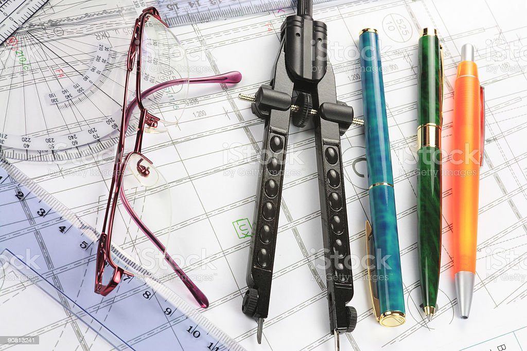 Architectural Drawings and Drafting Tools royalty-free stock photo