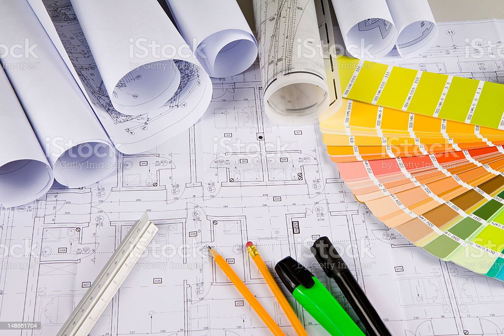 Architectural drawings, office tools royalty-free stock photo