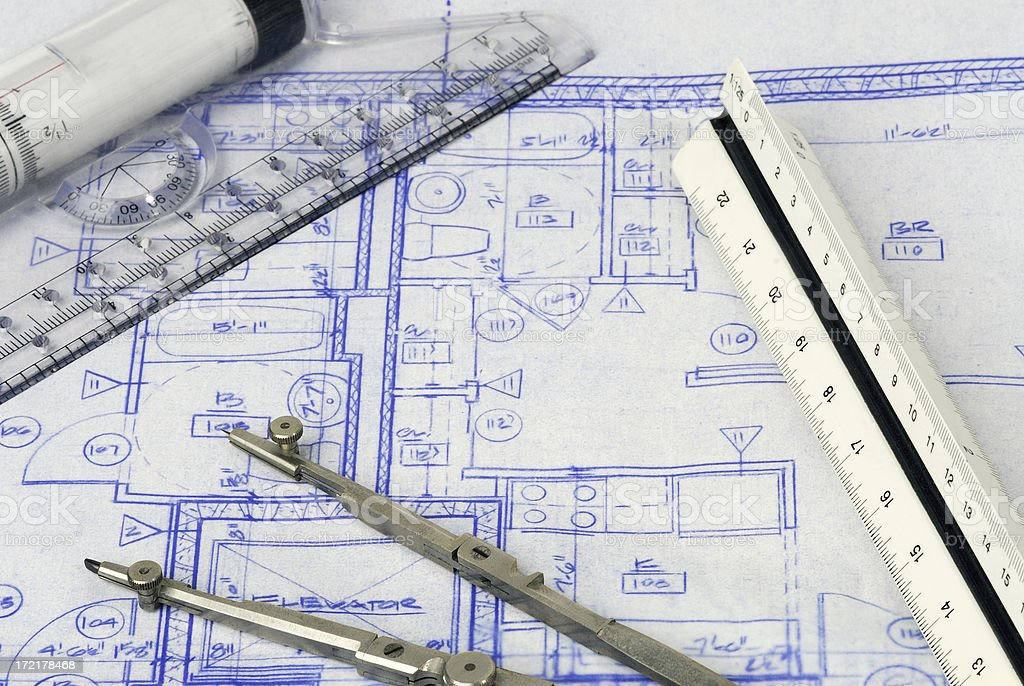 Architectural Drawings with tools royalty-free stock photo