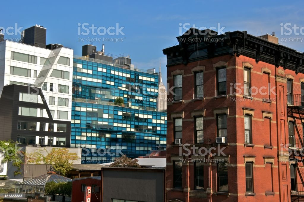NYC - Architectural eras in contrast, Chelsea, Manhattan stock photo