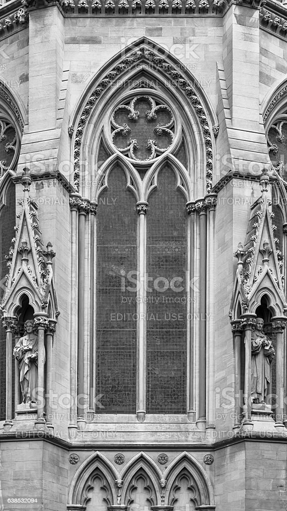 Architectural exterior detail of St Johns College Chapel. Cambridge, England stock photo
