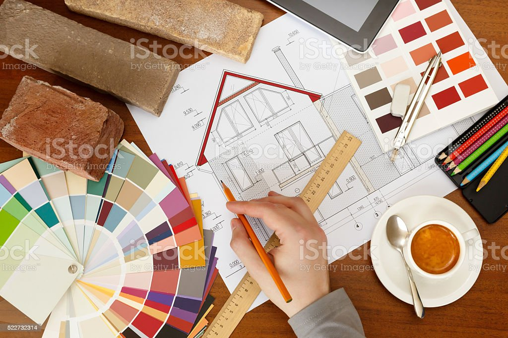 architectural facade drawing, Two color palette guide, pencils a stock photo