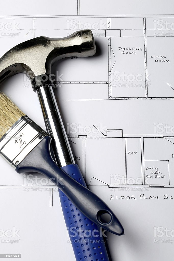 Architectural house plans royalty-free stock photo