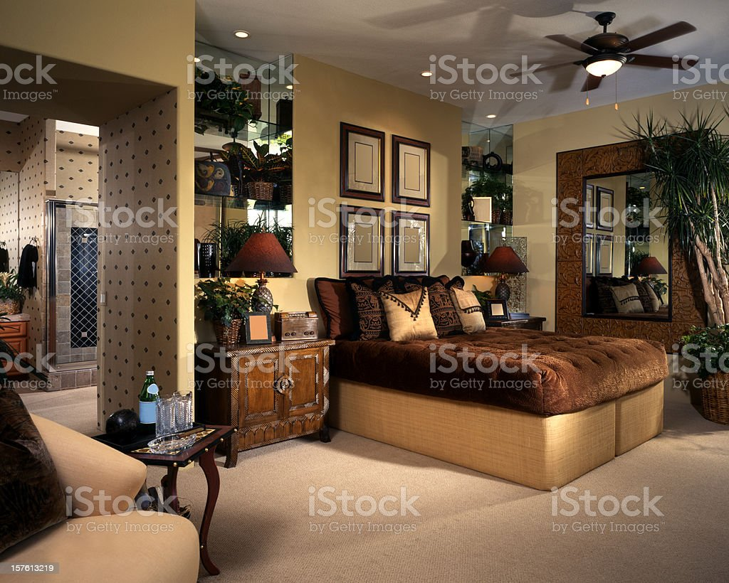 Architectural image of well-furnished bedroom royalty-free stock photo