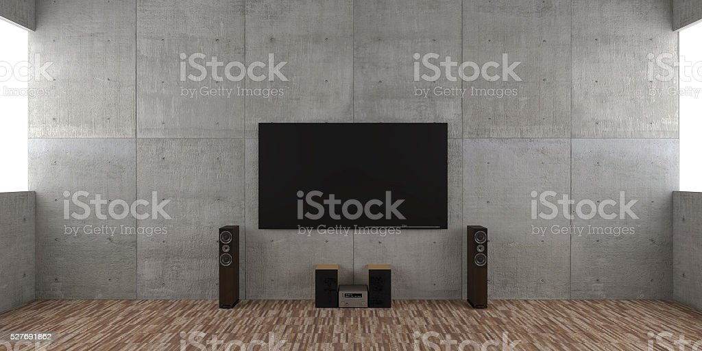 Architectural interior concept with TV set and hi-fi stock photo