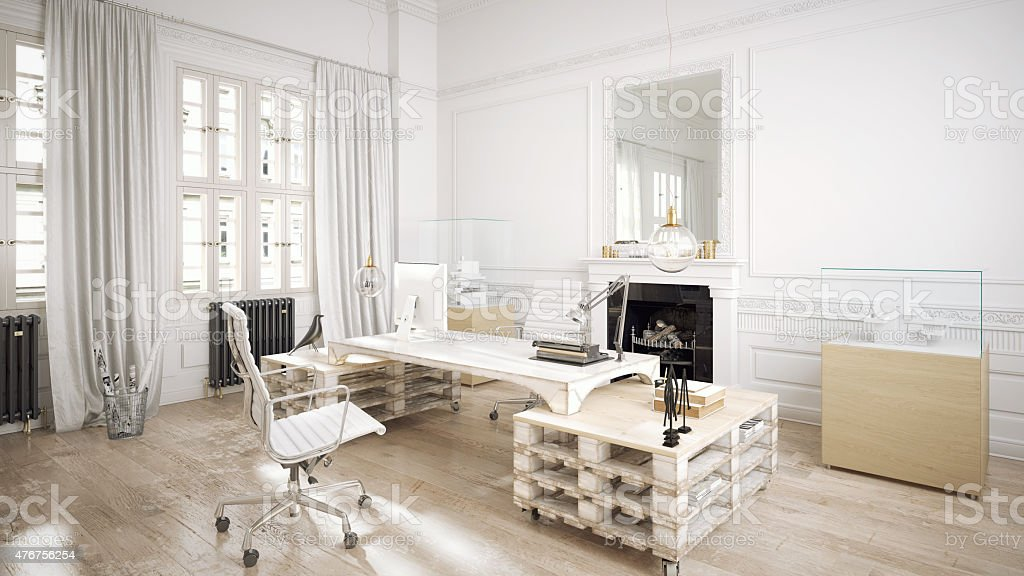 Architectural loft office stock photo