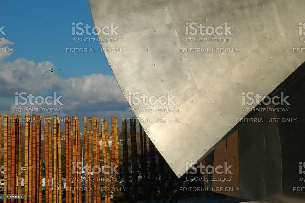 Architectural metal detail. EMP Museum, Seattle, WA. stock photo