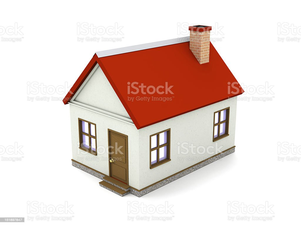 Architectural model of a white house with red roof stock photo