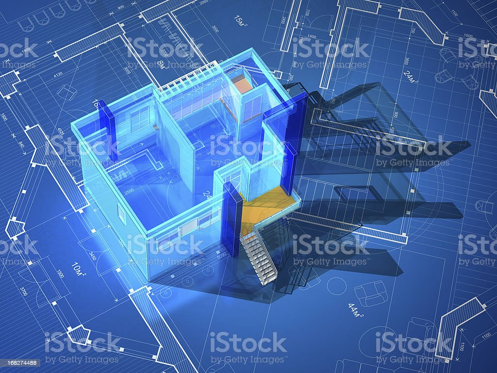 Architectural Model-Interior Blueprint royalty-free stock photo