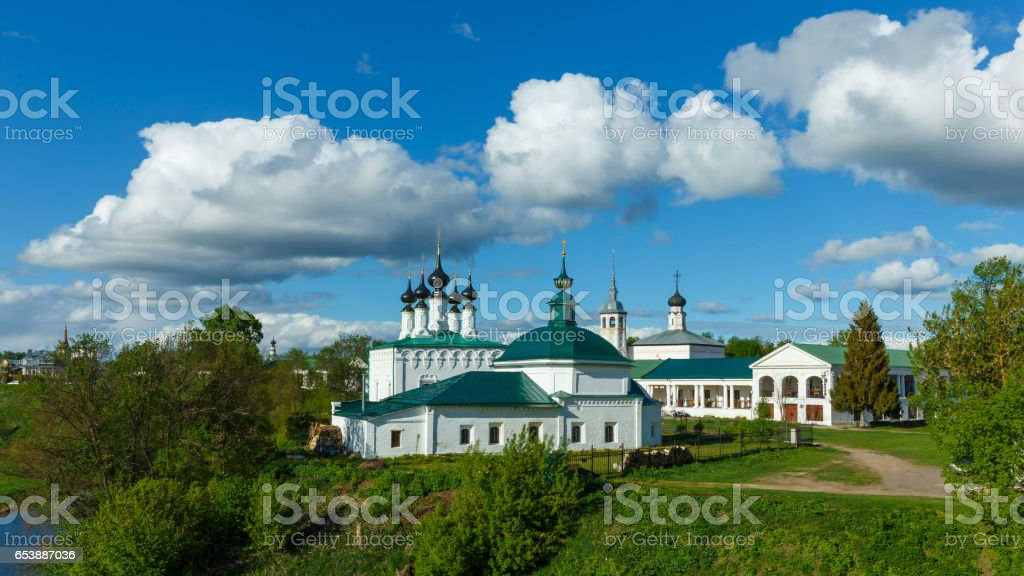 Architectural monuments in the center of Suzdal stock photo
