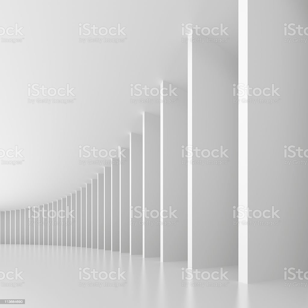 Architectural pattern of white vertical rectangular columns royalty-free stock photo