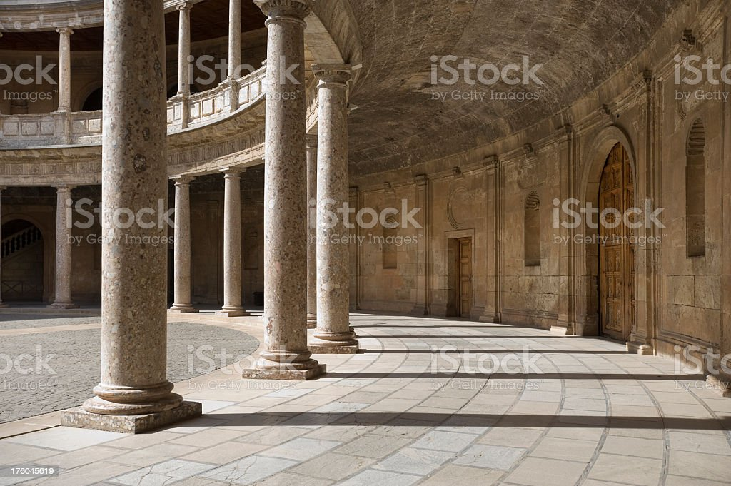 Architectural photo showing Alhambra Columns, Granada, Spain stock photo