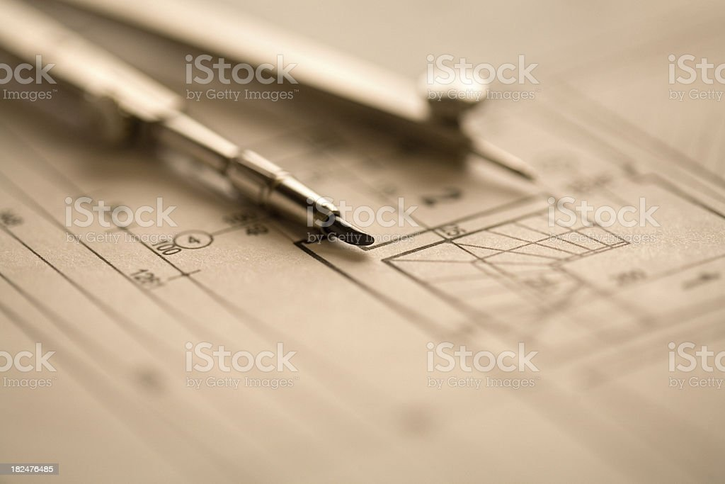 Architectural plan royalty-free stock photo