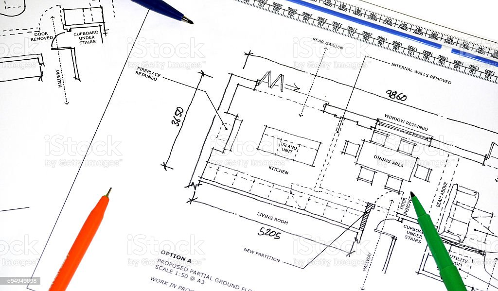 Architectural Plan Sketch Layout stock photo