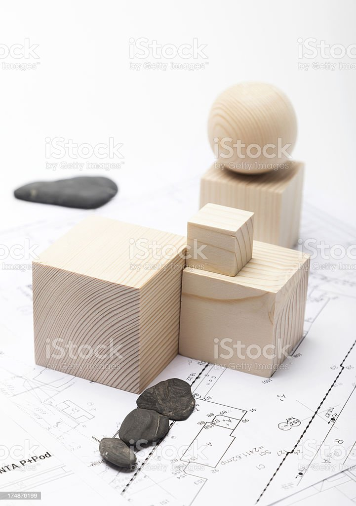 Architectural Planning with Wooden Shapes. Scale Model. Blueprint. royalty-free stock photo