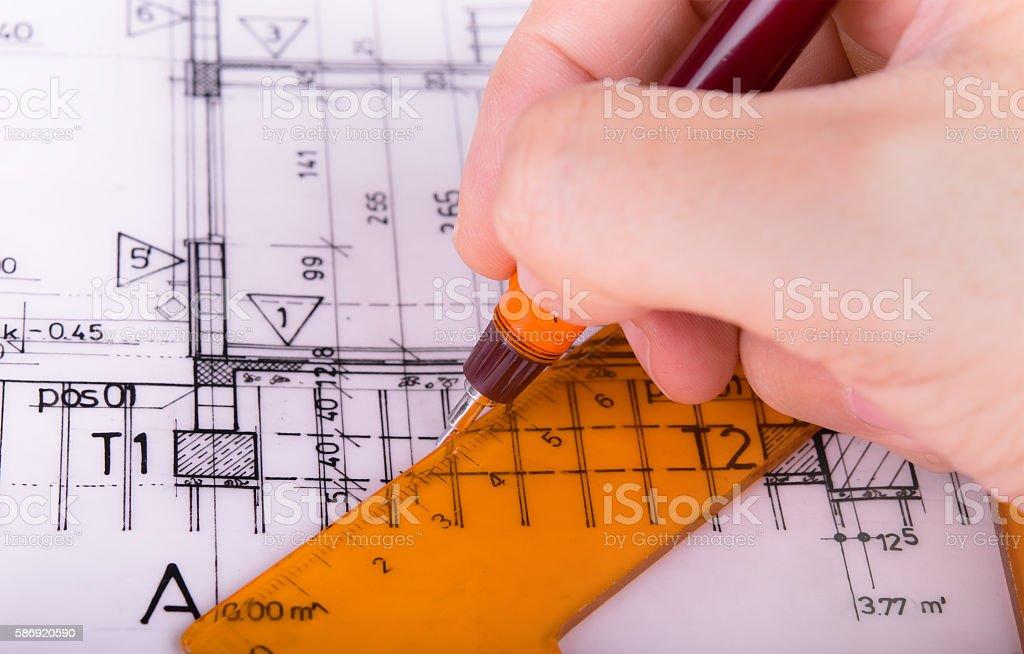 architectural plans project architect blueprints stock photo