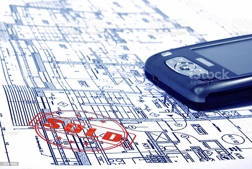 architectural plans with PDA royalty-free stock photo
