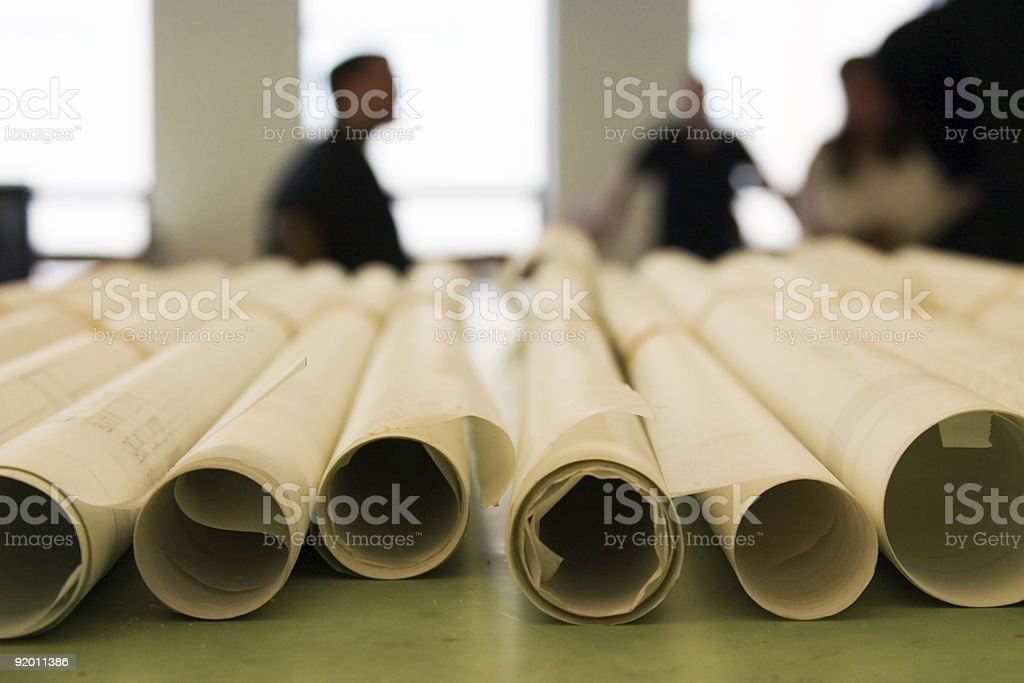 Architectural Plans with People royalty-free stock photo