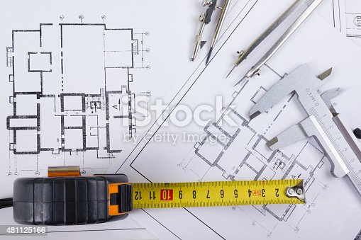 Architectural project blueprints divider compass calipers for Blueprint estimator