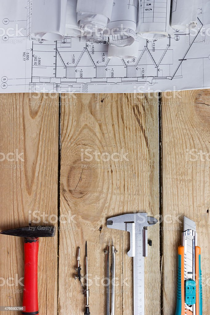 Architectural project, blueprints rolls. Engineering tools top view stock photo