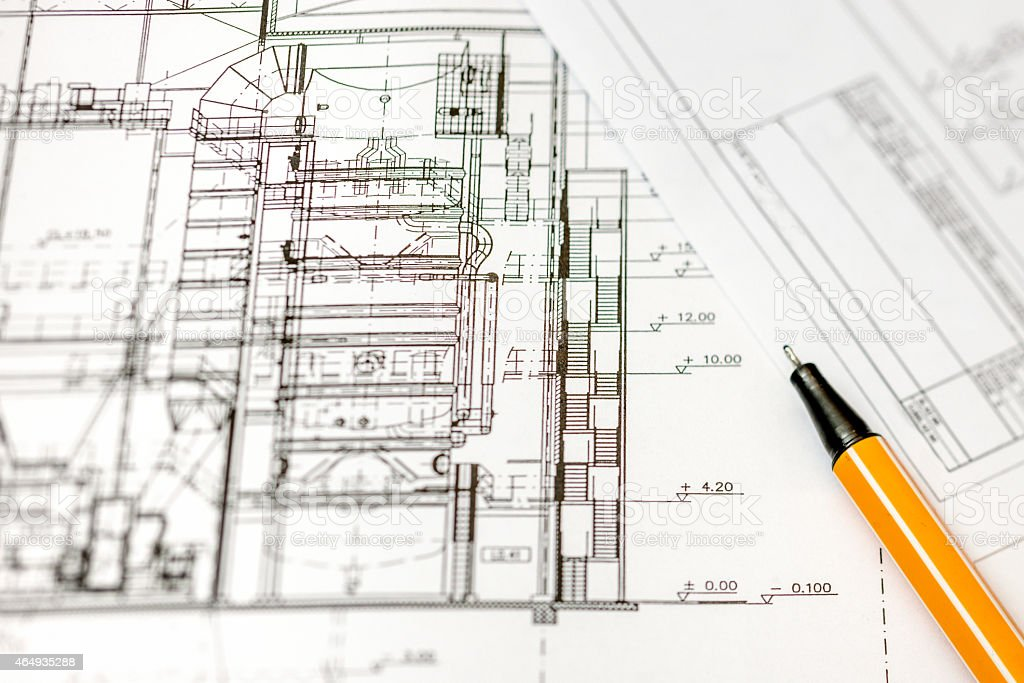 Architectural project, Engineering blueprint stock photo