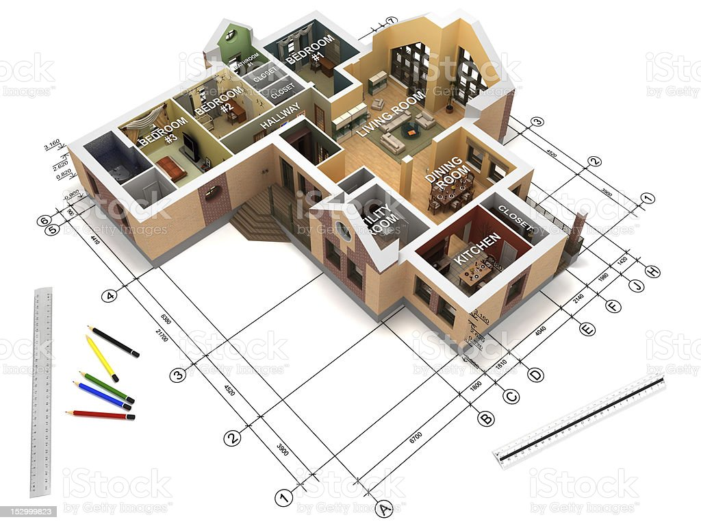 Architectural project in progress stock photo