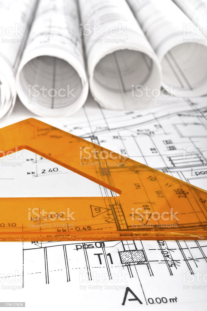 Architectural project on architect workplace desk royalty-free stock photo