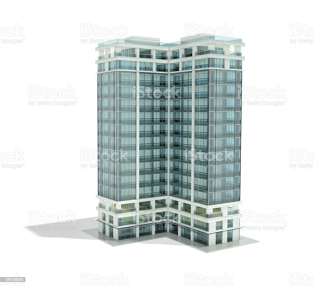 Architectural rendering of office building royalty-free stock photo