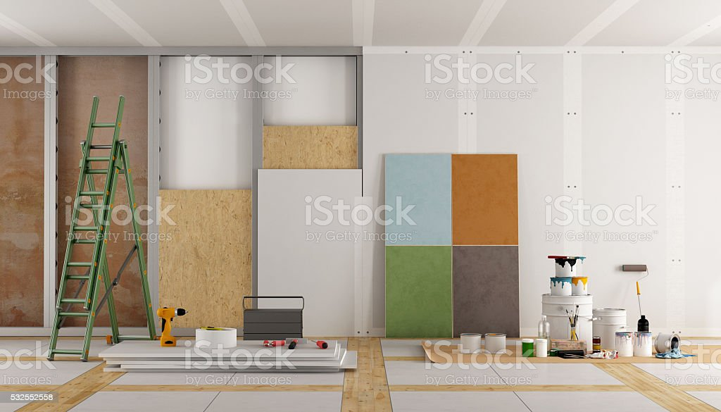 architectural restoration of an old room stock photo