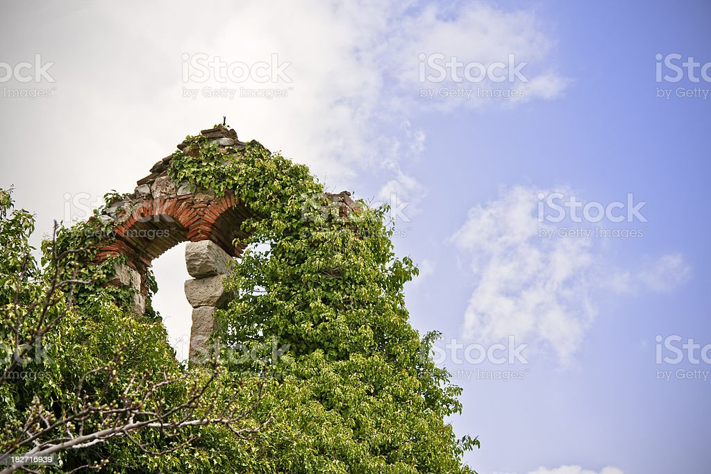 Architectural Ruins Covered by Nature, Chianti Region in Tuscany royalty-free stock photo