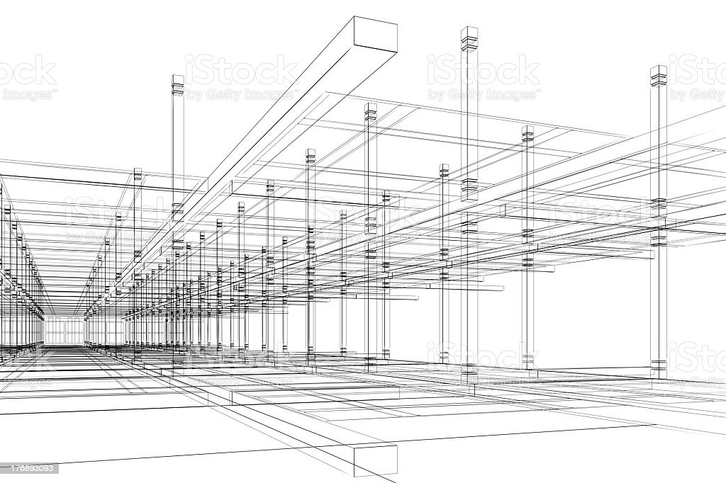 Architectural sketch of an area under construction stock photo