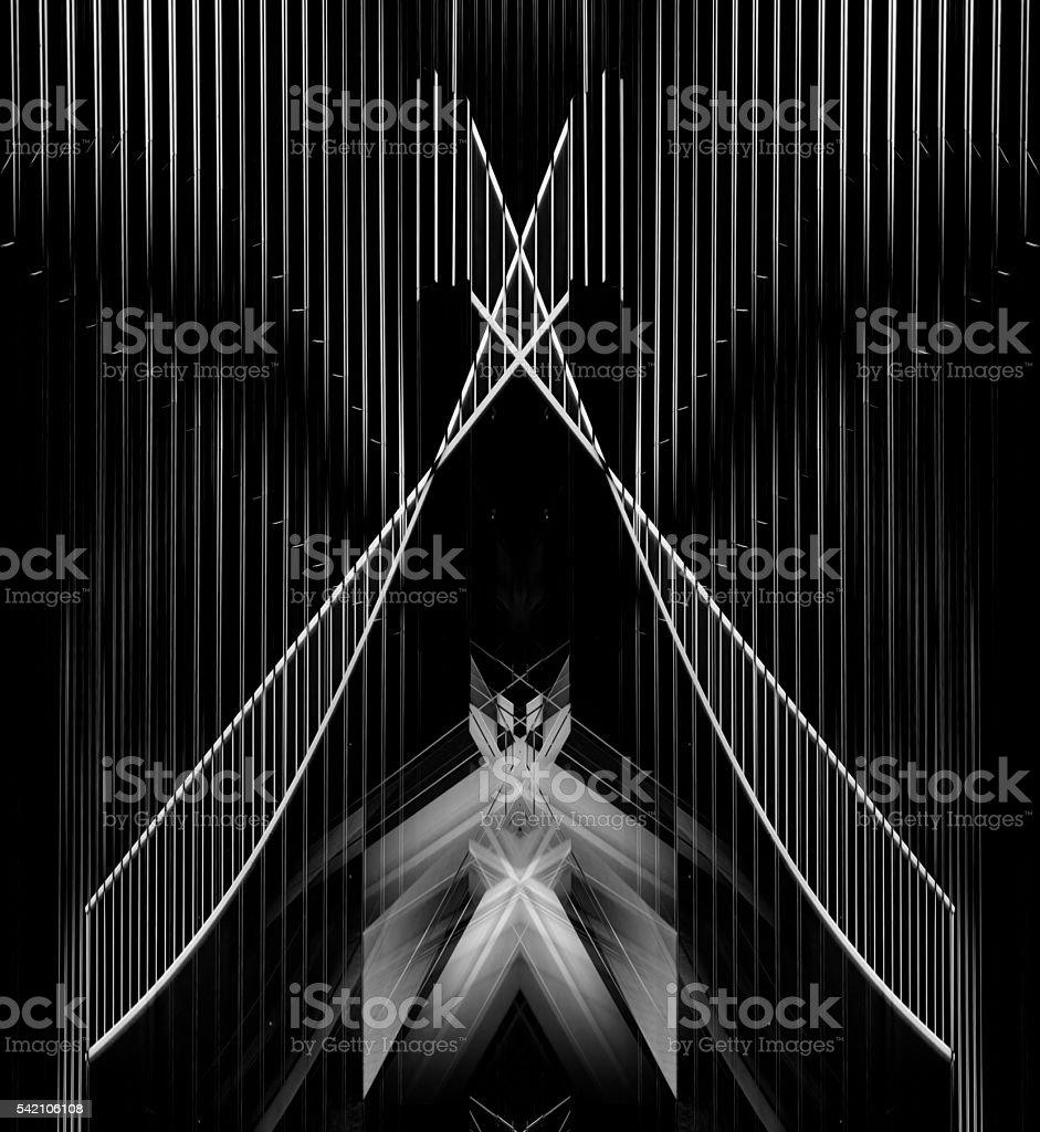 Architectural sketch of futuristic building facade / entrance or suspension bridge stock photo