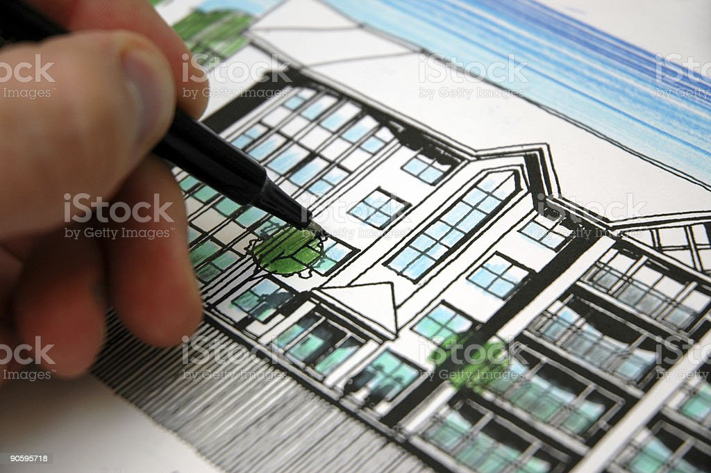 Architectural sketch royalty-free stock photo