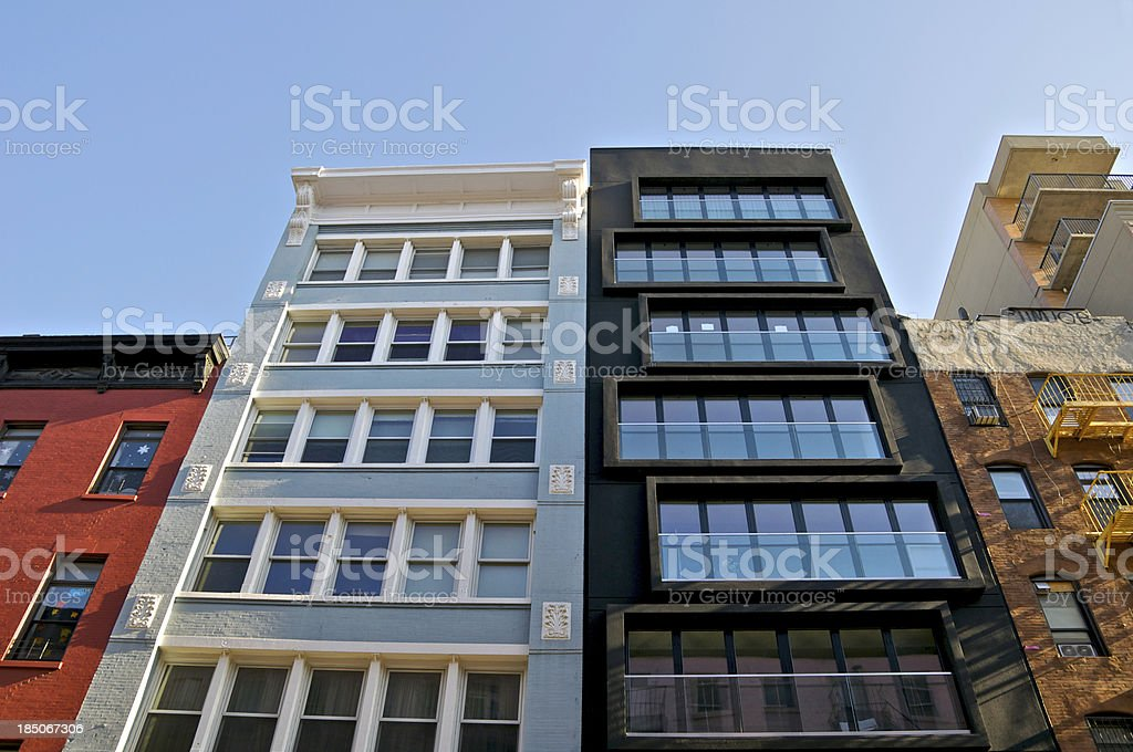 Architectural styles & contrasts cityscape, Manhattan, New York City stock photo