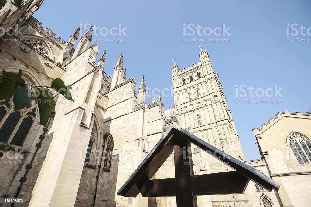 Architectural view of Exeter Cathedral. stock photo