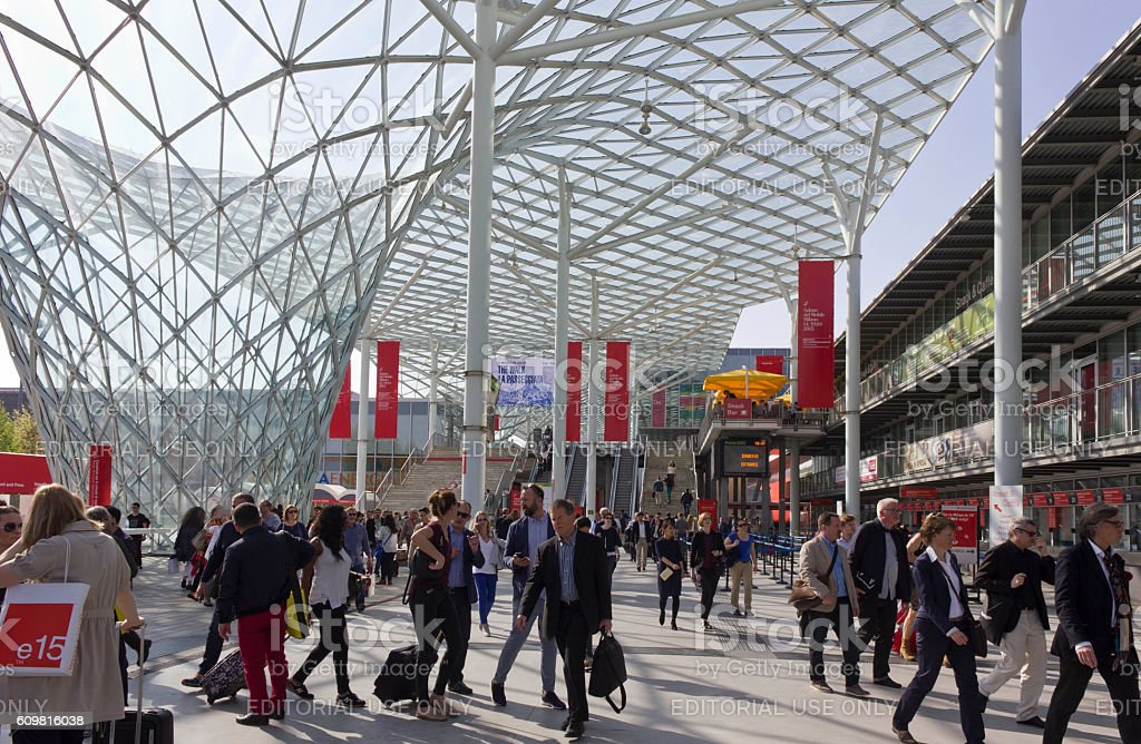 Architectural view of the covered glass roof of Fiera Milano stock photo