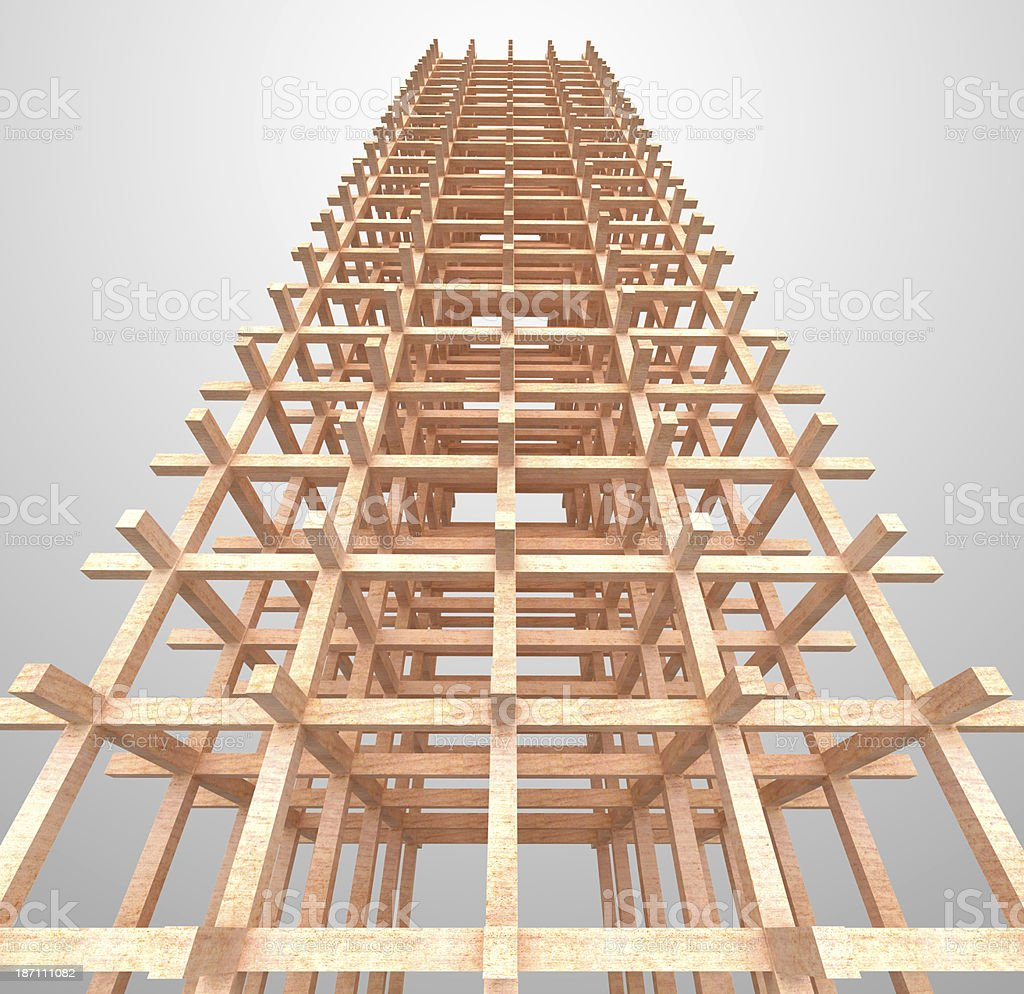 Architectural wooden structure. Engineering concept royalty-free stock photo