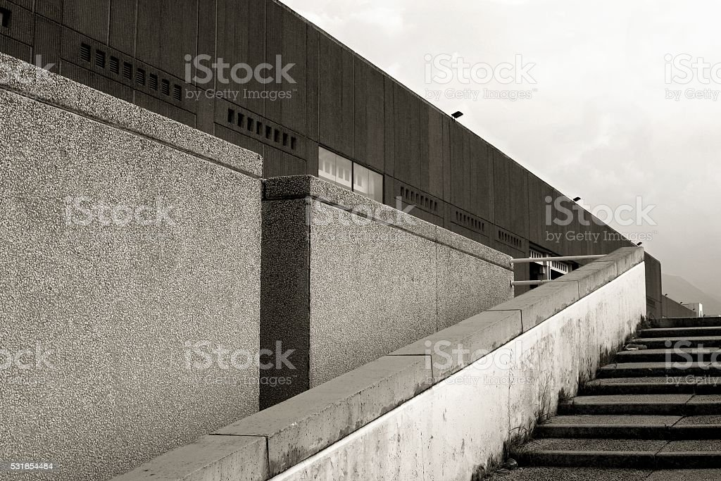 Architecture abstract industrial building prefabricated facade stock photo