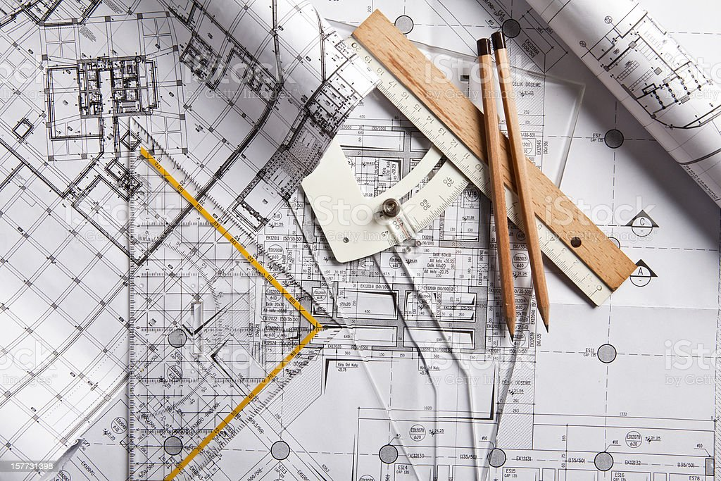 Architecture and mechanical engineering tools and documents royalty-free stock photo