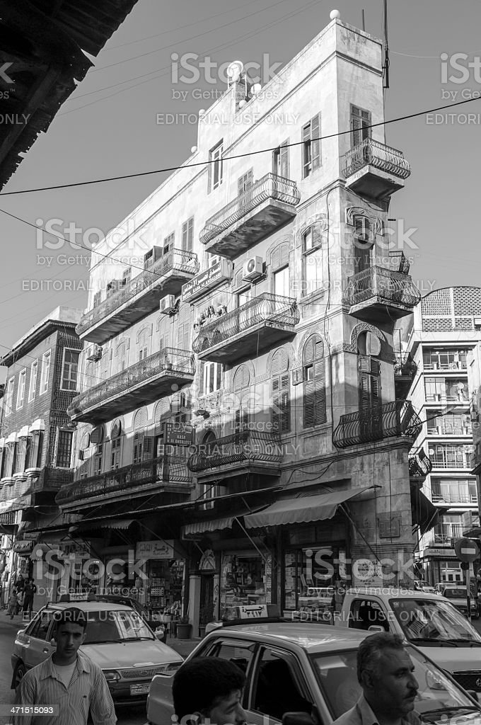 Architecture and people in downtown Aleppo, Syria royalty-free stock photo