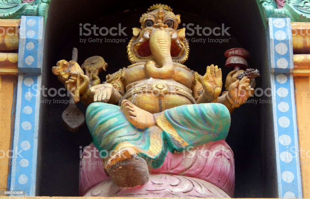 Architecture and Statute Hindu God Ganesha on exterior wall of Hindu Temple, Hyderabad,India stock photo