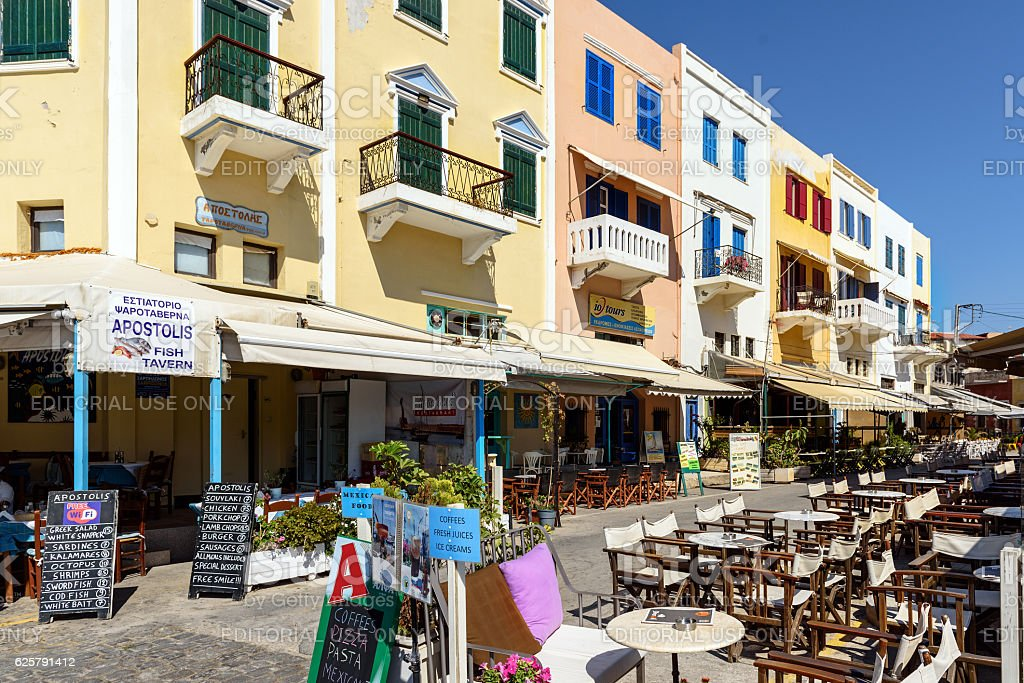 Architecture and taverns of Chania town, Crete island stock photo