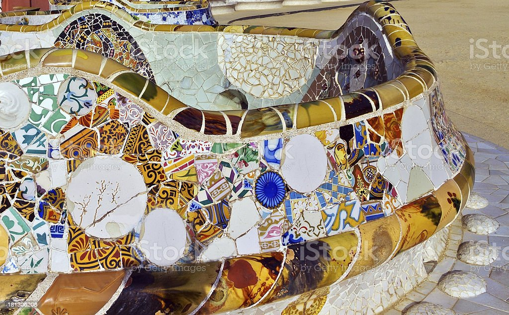 Architecture Antonio Gaudi in Park Guell, Barcelona. royalty-free stock photo
