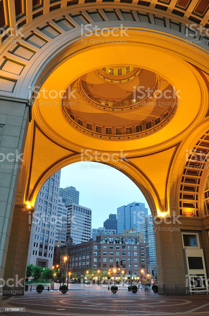 Architecture at Rowes Wharf in Boston stock photo