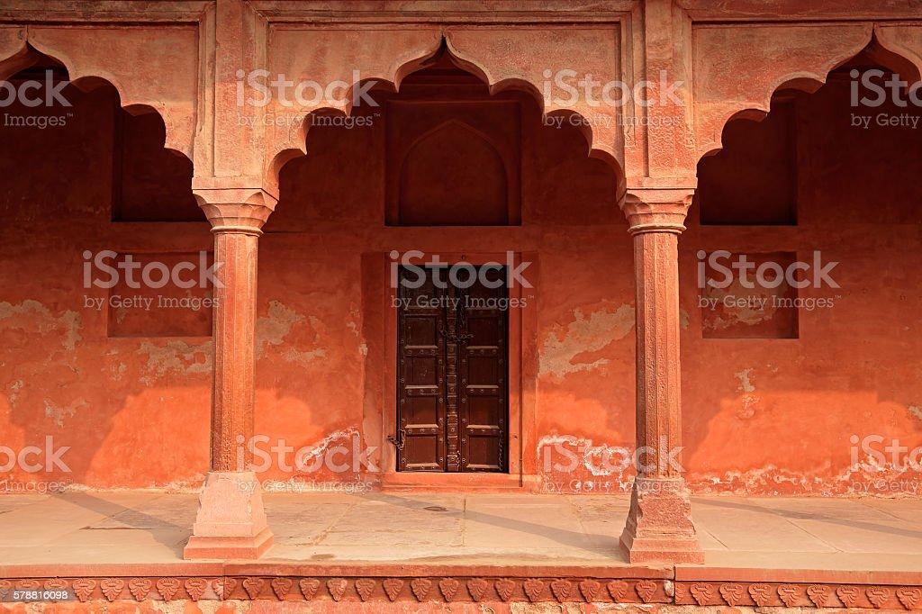 Architecture at Taj Mahal entrance stock photo
