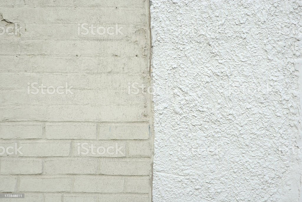 Architecture Background Off-White Brick Meets White Stucco Wall royalty-free stock photo