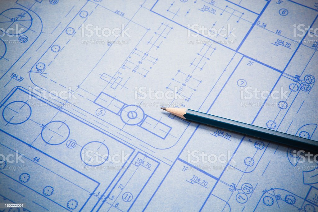 Architecture blueprint detail with blue pencil royalty-free stock photo