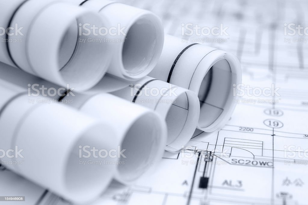 Architecture Blueprint Detail,Construction Engineering Industry Design Document royalty-free stock photo