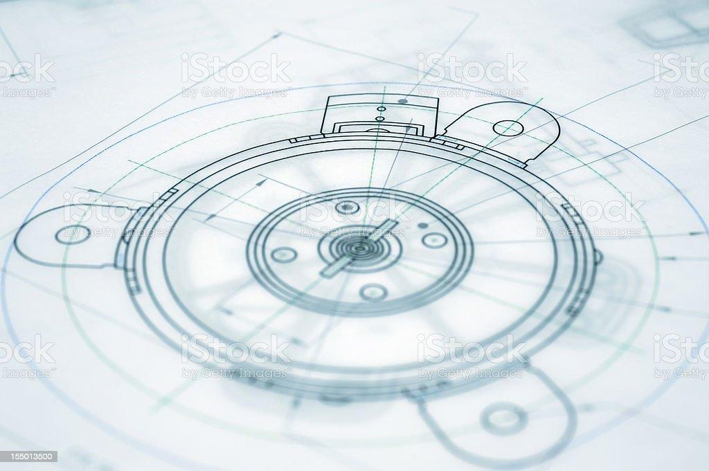 Architecture Blueprint-Mechanical Engineering Blueprint stock photo