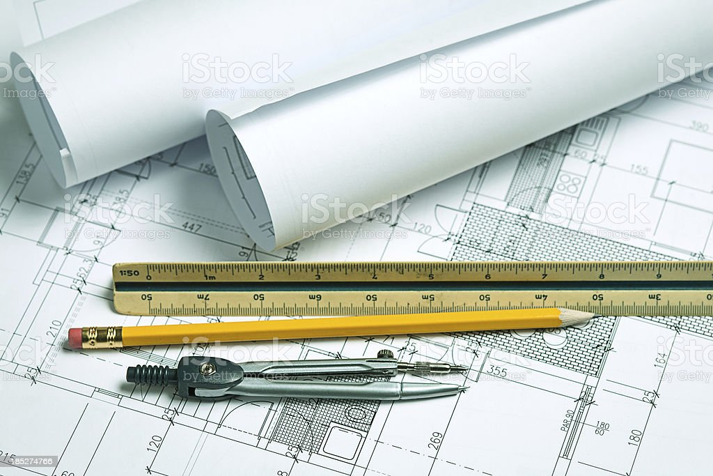 Architecture blueprints & Drawing Tools royalty-free stock photo